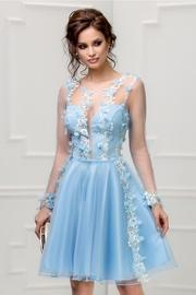 rochie bleu de ocazie cu broderie 3D