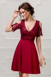 rochie bordo scurta de ocazie cu paiete