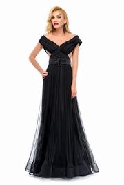 rochie de ocazie neagra cu accesoriu tip curea