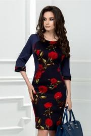 rochie de seara bleumarin cu imprimeu floral rosu