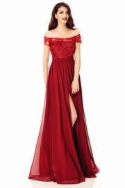 rochie de seara bordo din voal cu bust din dantela
