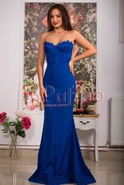 rochie de seara lunga albastra cu dantela