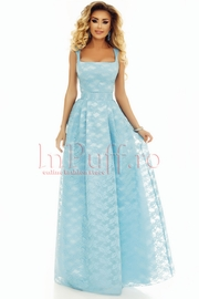rochie de seara lunga din dantela bleu