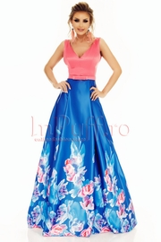 rochie de seara lunga din tafta cu imprimeu floral