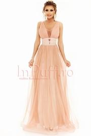 rochie de seara lunga din tul bej cu sclipici