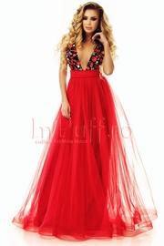 rochie de seara lunga din tul rosu si dantela