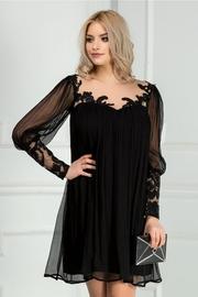 rochie de seara neagra din matase naturala