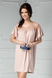 rochie de seara roz cu dantela croi larg
