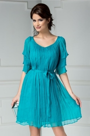 rochie de seara turcoaz din matase naturala