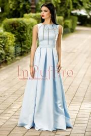 rochie eleganta lunga din tafta bleu