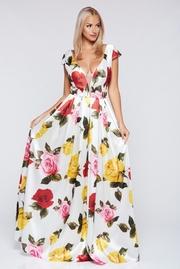 rochie lunga alba de ocazie din material satinat cu decolteu in v