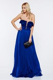 rochie lunga albastra de lux cu bust buretat din tul captusita pe interior