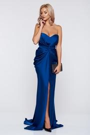 rochie lunga albastra de lux din material satinat cu push-up