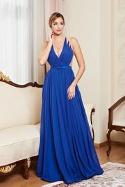 rochie lunga albastra de lux din voal captusita pe interior cu decolteu in v