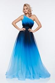 rochie lunga albastra de lux in clos pe umar captusita pe interior