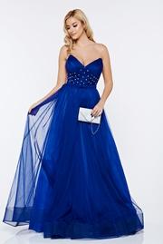 rochie lunga albastra de lux tip corset din tul captusita pe interior cu pietre strass
