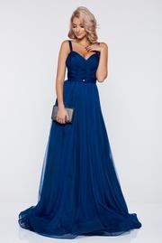 rochie lunga albastra de lux tip corset din tul captusita pe interior