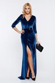 rochie lunga albastra de ocazie din catifea cu decolteu