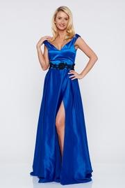 rochie lunga albastra de ocazie din material satinat cu bust buretat