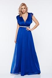 rochie lunga albastra de ocazie din material vaporos cu decolteu adanc