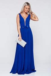 rochie lunga albastra de ocazie in clos cu decolteu