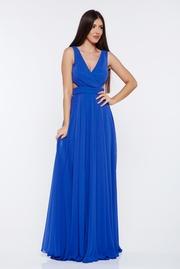 rochie lunga albastra de ocazie in clos din material usor elastic cu bust buretat