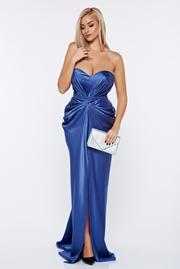 rochie lunga albastra-deschis de lux din material satinat cu push-up