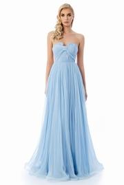 rochie lunga albastra-deschis de lux tip corset din tul captusita pe interior