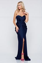 rochie lunga albastra-inchis de lux din material satinat cu push-up