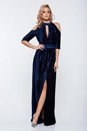 rochie lunga albastra-inchis de ocazie petrecuta cu maneci decupate si decolteu adanc