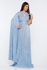 rochie lunga argintie de ocazie plisata cu spatele gol