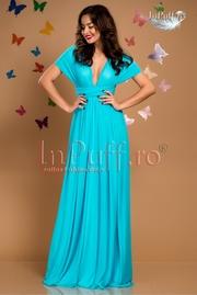 rochie lunga bleu din tul
