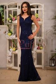 rochie lunga bleumarin cu dantela si paiete