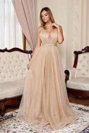 rochie lunga crem de lux din tul captusita pe interior cu decolteu in v