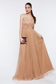 rochie lunga crem de lux din tul cu bust buretat