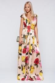 rochie lunga crem de ocazie din material satinat cu decolteu in v
