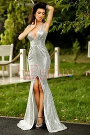 rochie lunga cu paiete argintii