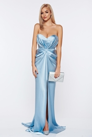 rochie lunga de lux din material satinat cu push-up