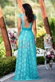 rochie lunga de seara cu spatele gol din dantela turcoaz