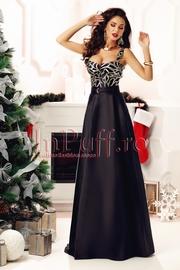 rochie lunga de seara din tafta neagra