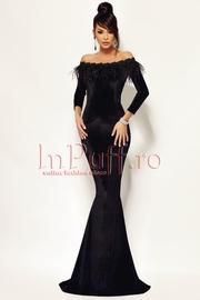 rochie lunga de seara neagra din catifea ieftina