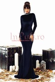 rochie lunga de seara neagra din catifea