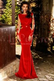 rochie lunga de seara rosie din catifea cu broderie