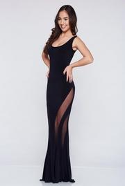 rochie lunga de seara sirena neagra fara maneci