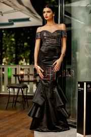 rochie lunga de seara tip sirena din paiete si tafta neagra