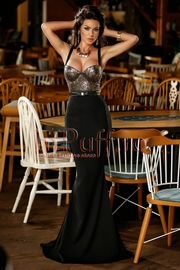 rochie lunga de seara tip sirena neagra cu paiete