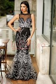 rochie lunga de seara tip sirena neagra