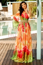 rochie lunga de vara din voal cu imprimeu floral