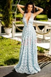 rochie lunga din dantela cu flori 3D