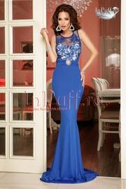 rochie lunga din lycra albastra